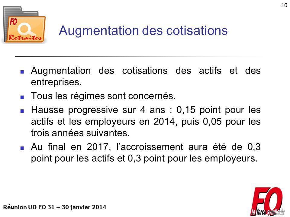 Réunion UD FO 31 – 30 janvier 2014 10 Augmentation des cotisations Augmentation des cotisations des actifs et des entreprises. Tous les régimes sont c