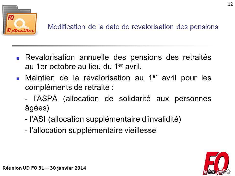 Réunion UD FO 31 – 30 janvier 2014 12 Modification de la date de revalorisation des pensions Revalorisation annuelle des pensions des retraités au 1er