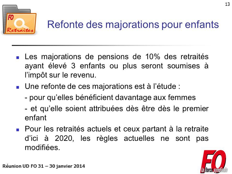 Réunion UD FO 31 – 30 janvier 2014 13 Refonte des majorations pour enfants Les majorations de pensions de 10% des retraités ayant élevé 3 enfants ou p