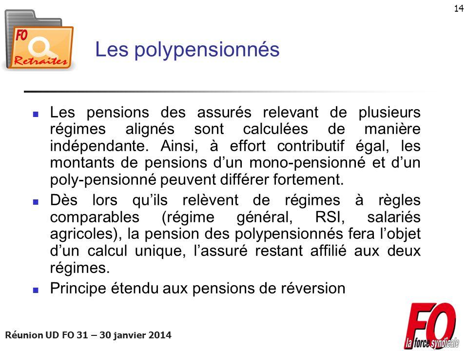 Réunion UD FO 31 – 30 janvier 2014 14 Les polypensionnés Les pensions des assurés relevant de plusieurs régimes alignés sont calculées de manière indé