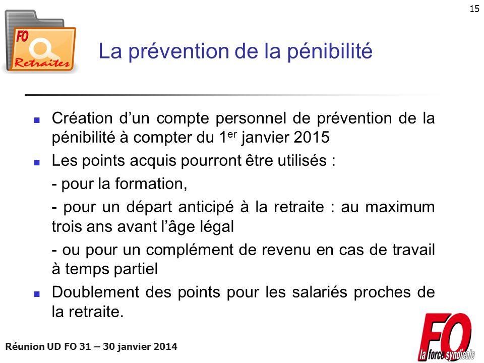 Réunion UD FO 31 – 30 janvier 2014 15 La prévention de la pénibilité Création dun compte personnel de prévention de la pénibilité à compter du 1 er ja