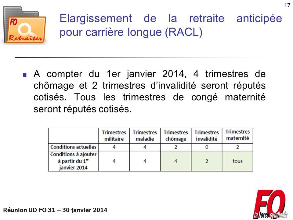 Réunion UD FO 31 – 30 janvier 2014 17 Elargissement de la retraite anticipée pour carrière longue (RACL) A compter du 1er janvier 2014, 4 trimestres d