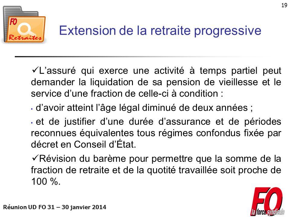Réunion UD FO 31 – 30 janvier 2014 19 Extension de la retraite progressive Lassuré qui exerce une activité à temps partiel peut demander la liquidatio