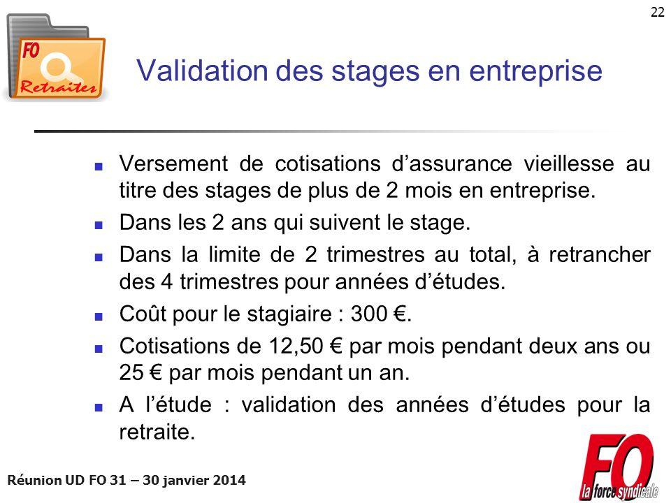 Réunion UD FO 31 – 30 janvier 2014 22 Validation des stages en entreprise Versement de cotisations dassurance vieillesse au titre des stages de plus d
