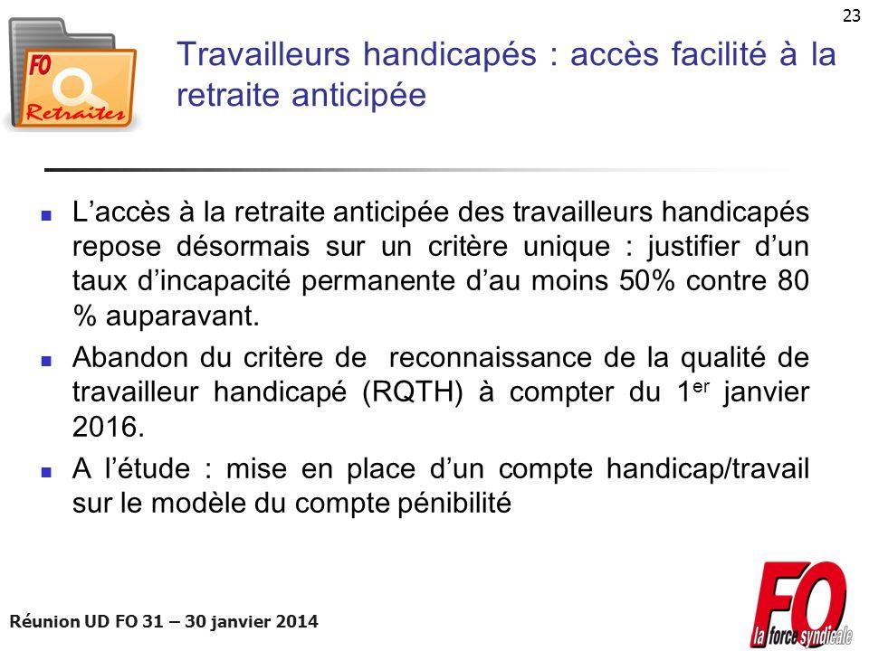 Réunion UD FO 31 – 30 janvier 2014 23 Travailleurs handicapés : accès facilité à la retraite anticipée Laccès à la retraite anticipée des travailleurs