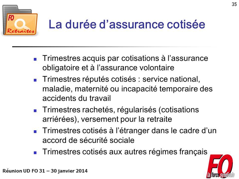 Réunion UD FO 31 – 30 janvier 2014 35 La durée dassurance cotisée Trimestres acquis par cotisations à lassurance obligatoire et à lassurance volontair