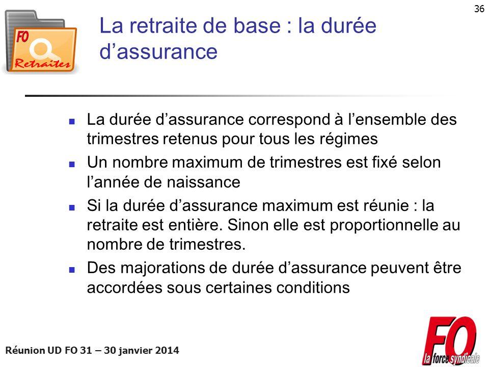 Réunion UD FO 31 – 30 janvier 2014 36 La retraite de base : la durée dassurance La durée dassurance correspond à lensemble des trimestres retenus pour
