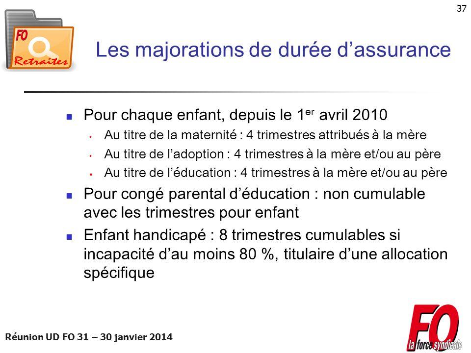 Réunion UD FO 31 – 30 janvier 2014 37 Les majorations de durée dassurance Pour chaque enfant, depuis le 1 er avril 2010 Au titre de la maternité : 4 t