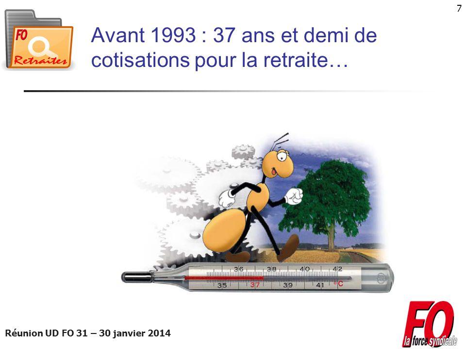 Réunion UD FO 31 – 30 janvier 2014 28 Le calendrier de la réforme Mesures de justiceMesures de financementMesures de gouvernance D è s 2014 - 150 fois le Smic horaire pour valider un trimestre, au lieu de 200.