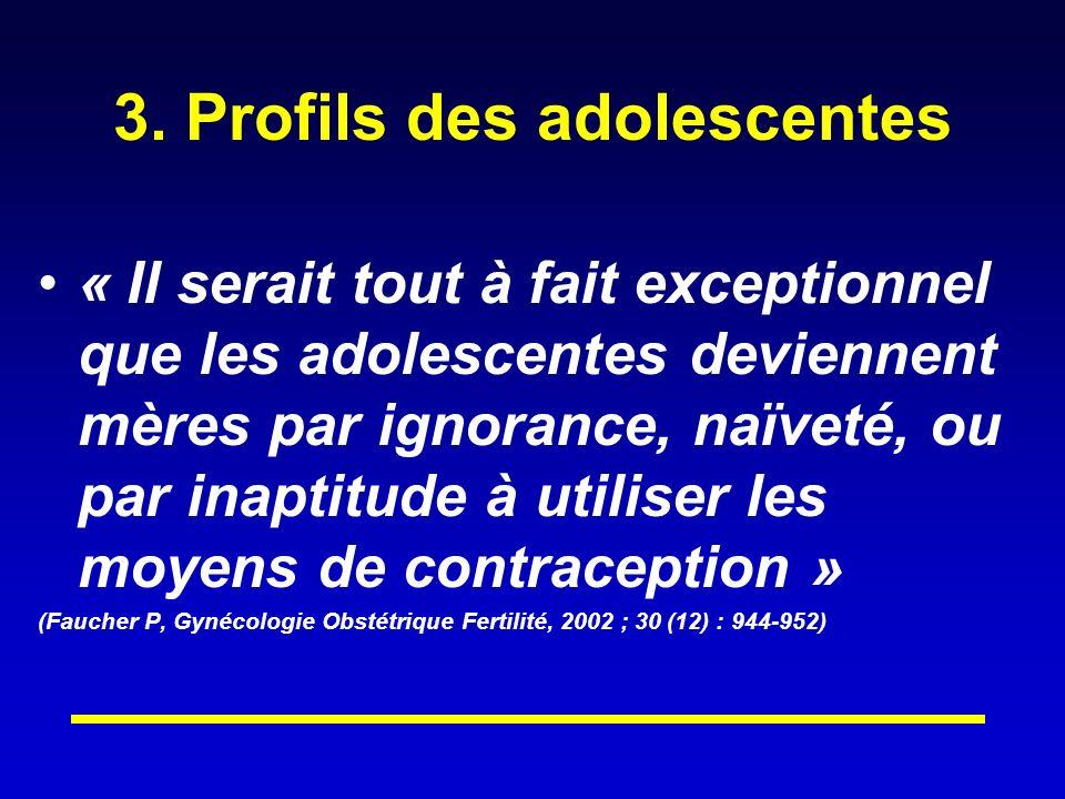 3. Profils des adolescentes « Il serait tout à fait exceptionnel que les adolescentes deviennent mères par ignorance, naïveté, ou par inaptitude à uti