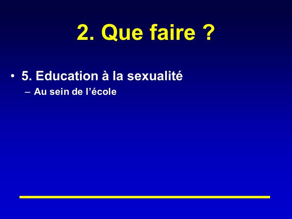 2. Que faire ? 5. Education à la sexualité –Au sein de lécole
