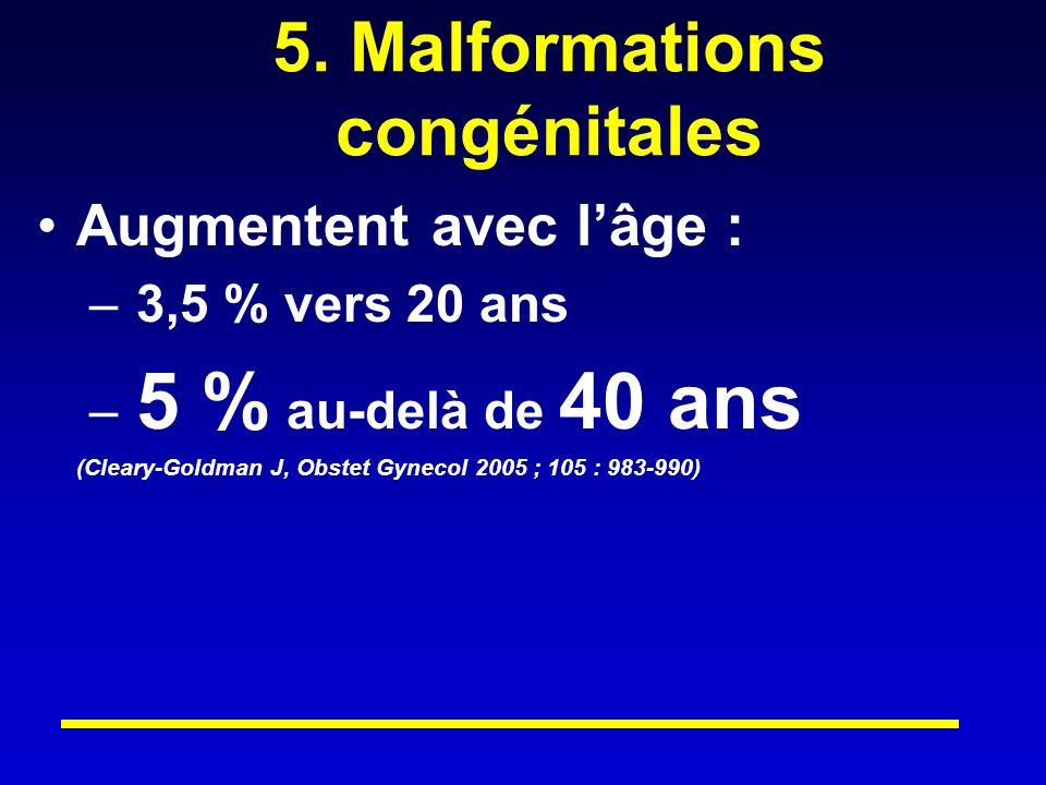 5. Malformations congénitales Augmentent avec lâge : – 3,5 % vers 20 ans – 5 % au-delà de 40 ans (Cleary-Goldman J, Obstet Gynecol 2005 ; 105 : 983-99