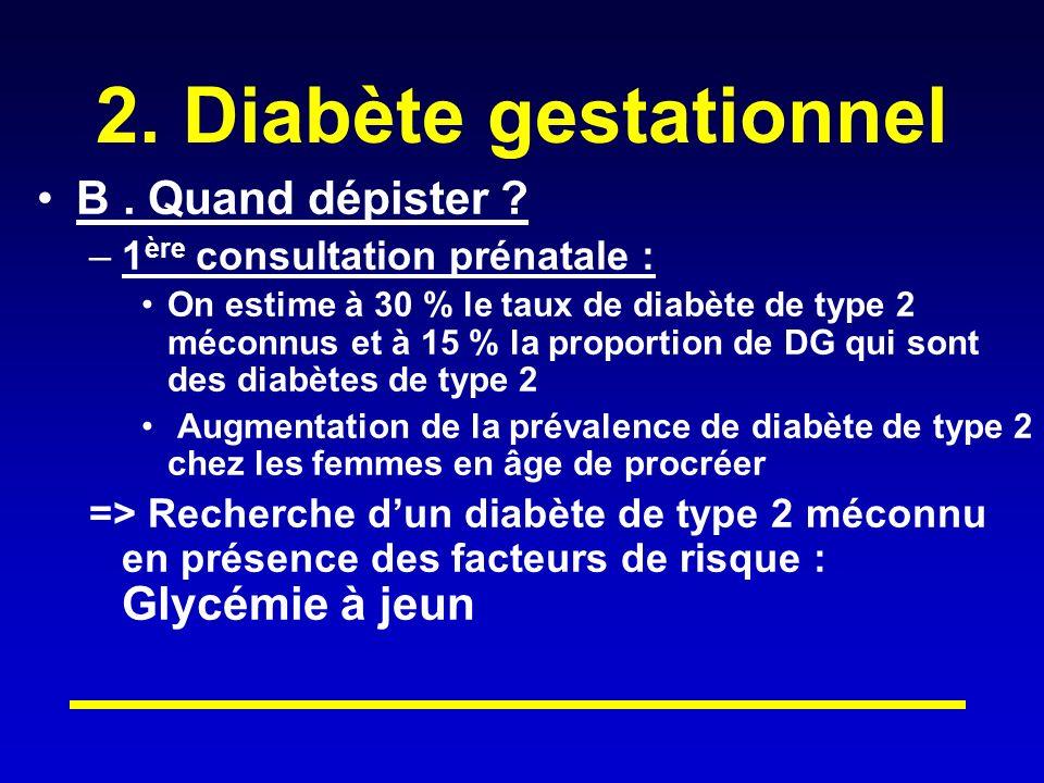 2.Diabète gestationnel B. Quand dépister .