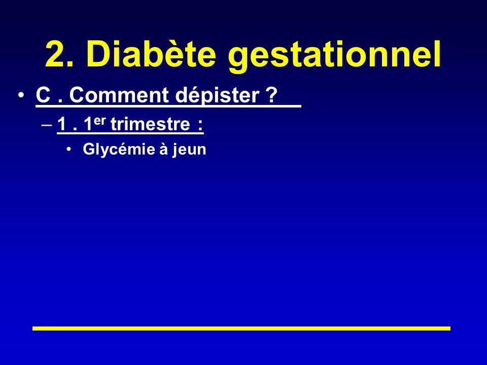 2. Diabète gestationnel C. Comment dépister ? –1. 1 er trimestre : Glycémie à jeun