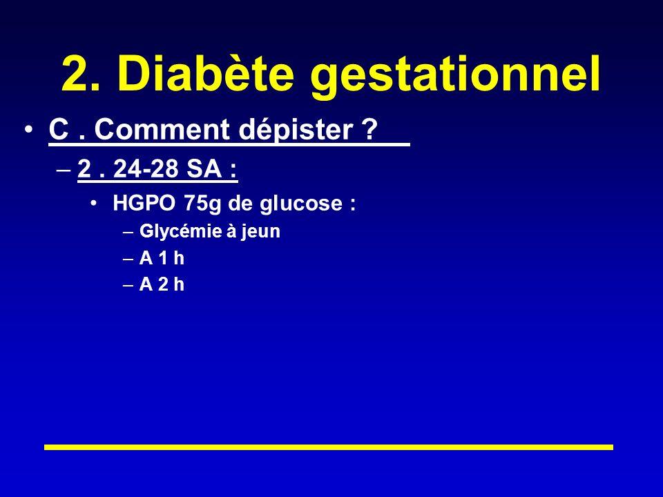 2.Diabète gestationnel C. Comment dépister . –2.