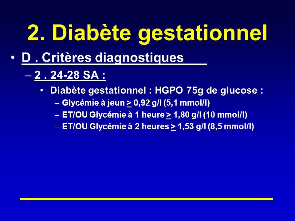 2.Diabète gestationnel D. Critères diagnostiques –2.