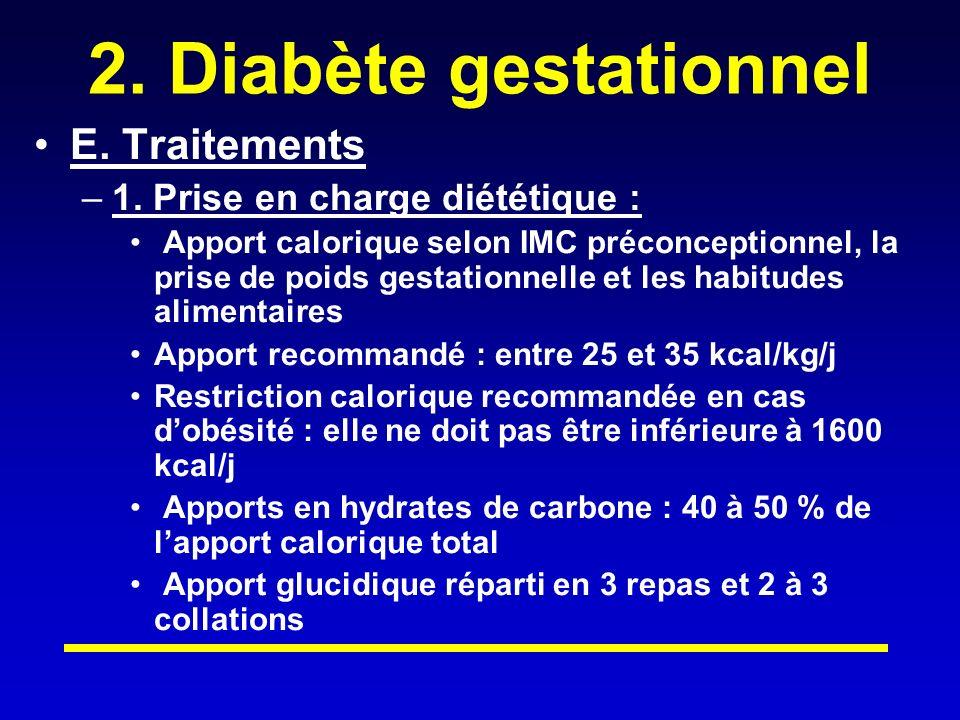2.Diabète gestationnel E. Traitements –1.