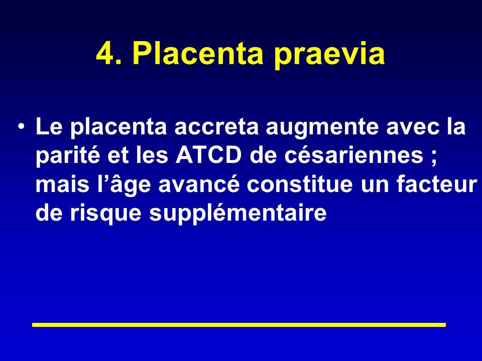 4. Placenta praevia Le placenta accreta augmente avec la parité et les ATCD de césariennes ; mais lâge avancé constitue un facteur de risque supplémen