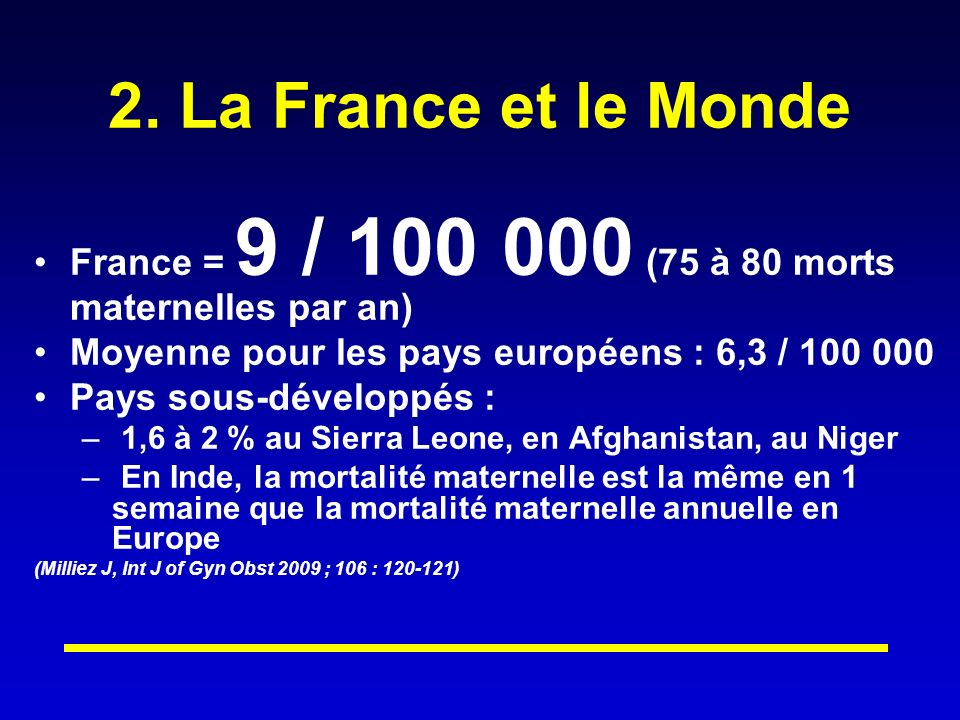 2. La France et le Monde France = 9 / 100 000 (75 à 80 morts maternelles par an) Moyenne pour les pays européens : 6,3 / 100 000 Pays sous-développés