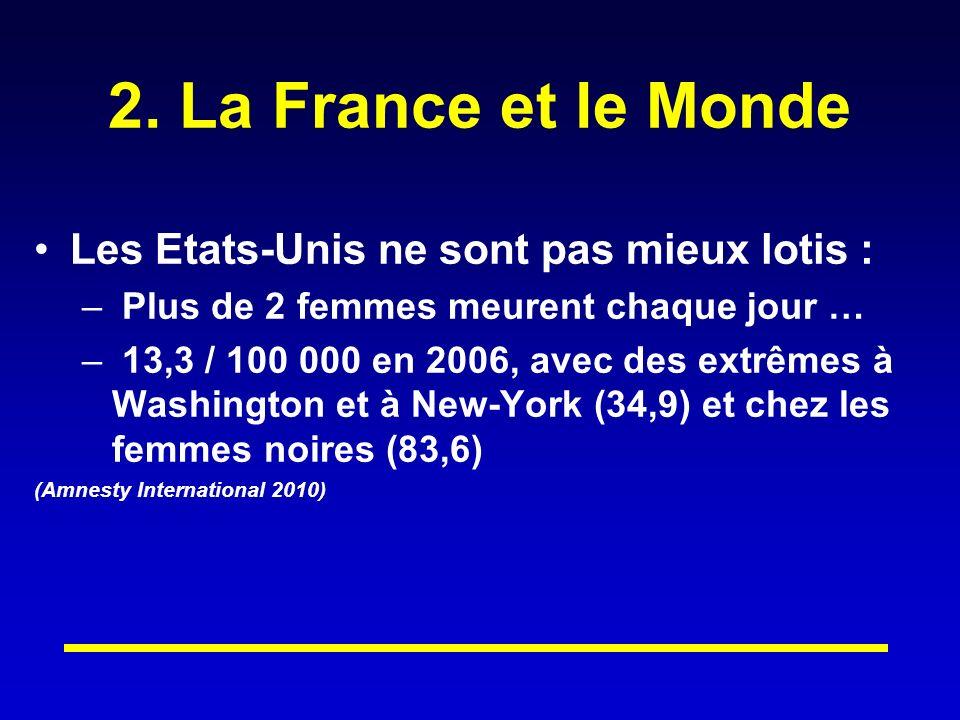2. La France et le Monde Les Etats-Unis ne sont pas mieux lotis : – Plus de 2 femmes meurent chaque jour … – 13,3 / 100 000 en 2006, avec des extrêmes