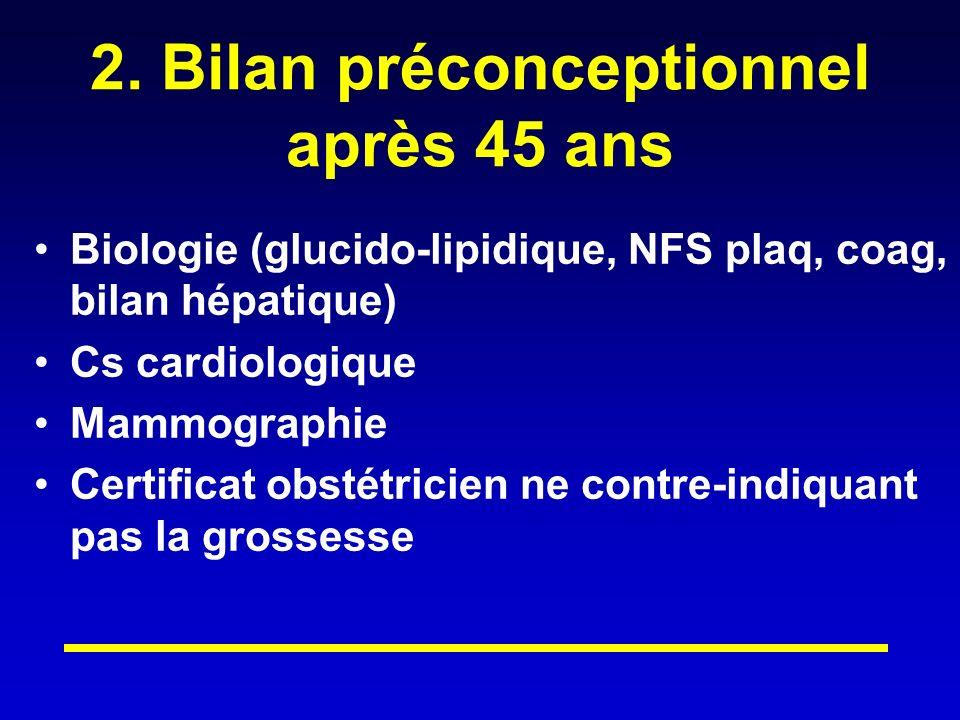 2. Bilan préconceptionnel après 45 ans Biologie (glucido-lipidique, NFS plaq, coag, bilan hépatique) Cs cardiologique Mammographie Certificat obstétri