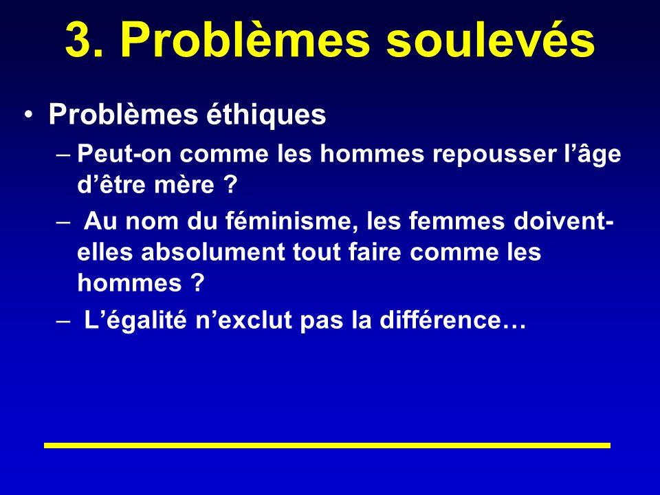 3.Problèmes soulevés Problèmes éthiques –Peut-on comme les hommes repousser lâge dêtre mère .