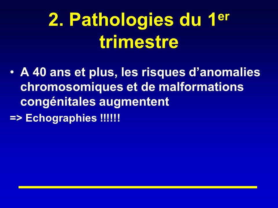 2. Pathologies du 1 er trimestre A 40 ans et plus, les risques danomalies chromosomiques et de malformations congénitales augmentent => Echographies !