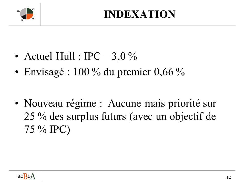 12 INDEXATION Actuel Hull : IPC – 3,0 % Envisagé : 100 % du premier 0,66 % Nouveau régime : Aucune mais priorité sur 25 % des surplus futurs (avec un objectif de 75 % IPC)