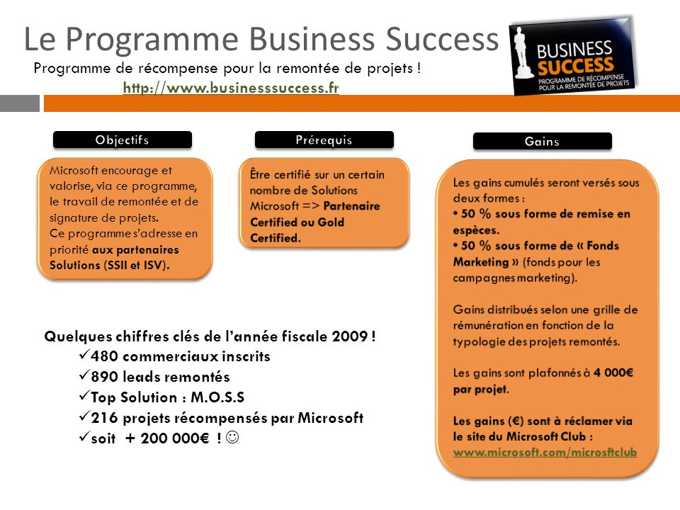 Le Programme Business Success Programme de récompense pour la remontée de projets ! http://www.businesssuccess.fr Microsoft encourage et valorise, via