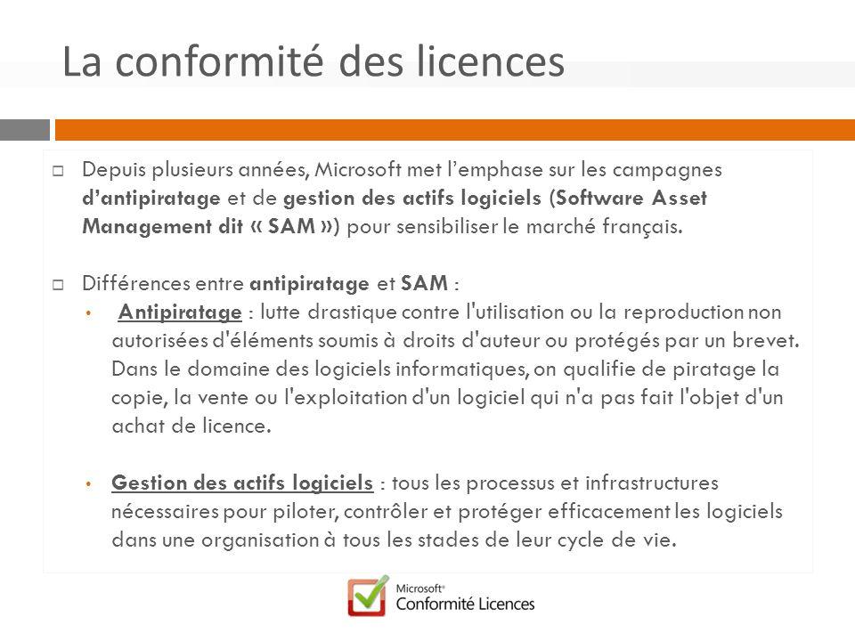 Depuis plusieurs années, Microsoft met lemphase sur les campagnes dantipiratage et de gestion des actifs logiciels (Software Asset Management dit « SAM ») pour sensibiliser le marché français.