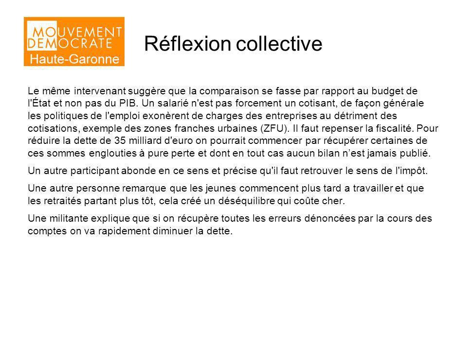 Réflexion collective Le même intervenant suggère que la comparaison se fasse par rapport au budget de l État et non pas du PIB.
