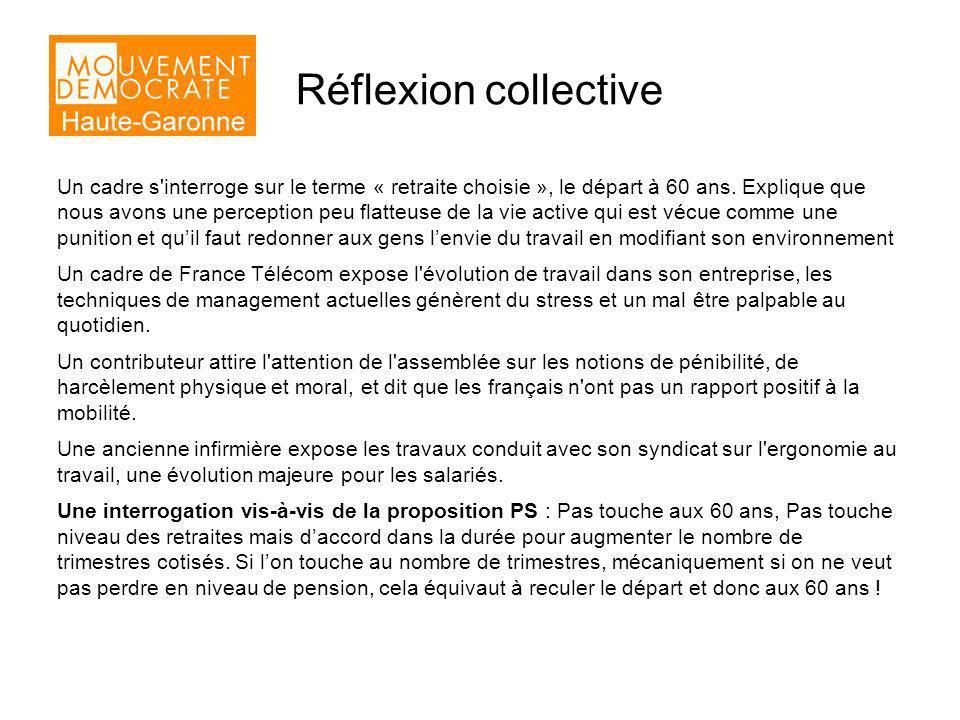 Réflexion collective Un cadre s interroge sur le terme « retraite choisie », le départ à 60 ans.