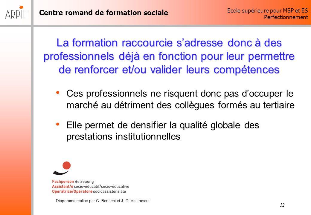 Centre romand de formation sociale Ecole supérieure pour MSP et ES Perfectionnement Diaporama réalisé par G. Bertschi et J.-D. Vautravers 12 La format