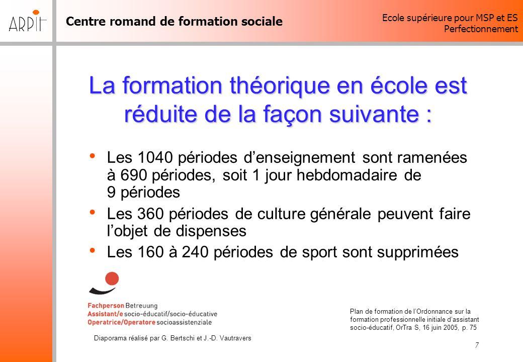 Centre romand de formation sociale Ecole supérieure pour MSP et ES Perfectionnement Diaporama réalisé par G. Bertschi et J.-D. Vautravers 7 La formati