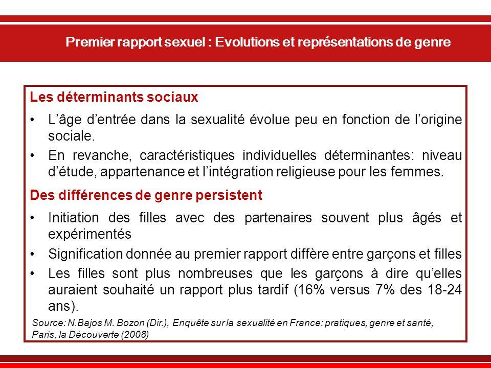 Premier rapport sexuel : Evolutions et représentations de genre Les déterminants sociaux Lâge dentrée dans la sexualité évolue peu en fonction de lorigine sociale.