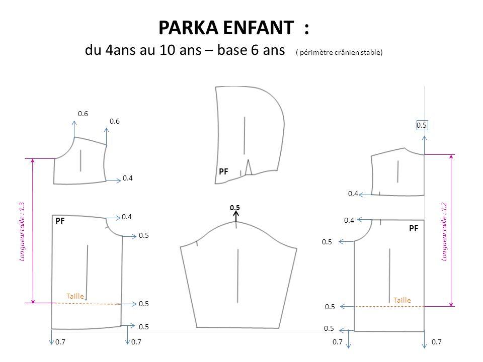 PARKA ENFANT : du 4ans au 10 ans – base 6 ans ( périmètre crânien stable) PF Taille 0.5 0.4 Longueur taille : 1.3Longueur taille : 1.2 0.7 0.6 0.7 0.5 0.7 0.6 0.5