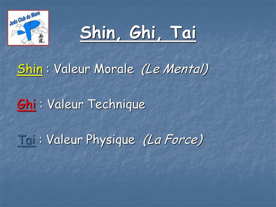 Shin, Ghi, Tai Shin : Valeur Morale (Le Mental) Ghi : Valeur Technique Tai : Valeur Physique (La Force)