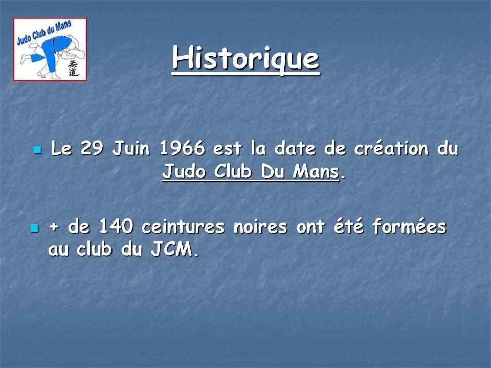 Historique Le 29 Juin 1966 est la date de création du Judo Club Du Mans. Le 29 Juin 1966 est la date de création du Judo Club Du Mans. + de 140 ceintu