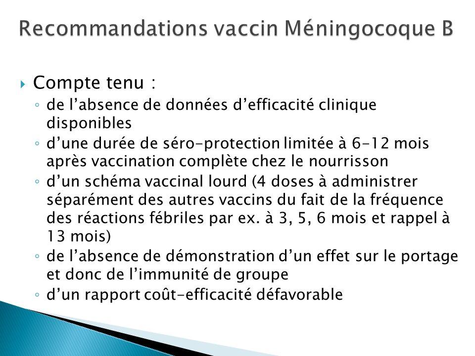 Compte tenu : de labsence de données defficacité clinique disponibles dune durée de séro-protection limitée à 6-12 mois après vaccination complète che