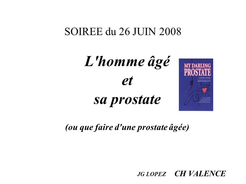 SOIREE du 26 JUIN 2008 L'homme âgé et sa prostate (ou que faire d'une prostate âgée) JG LOPEZ CH VALENCE