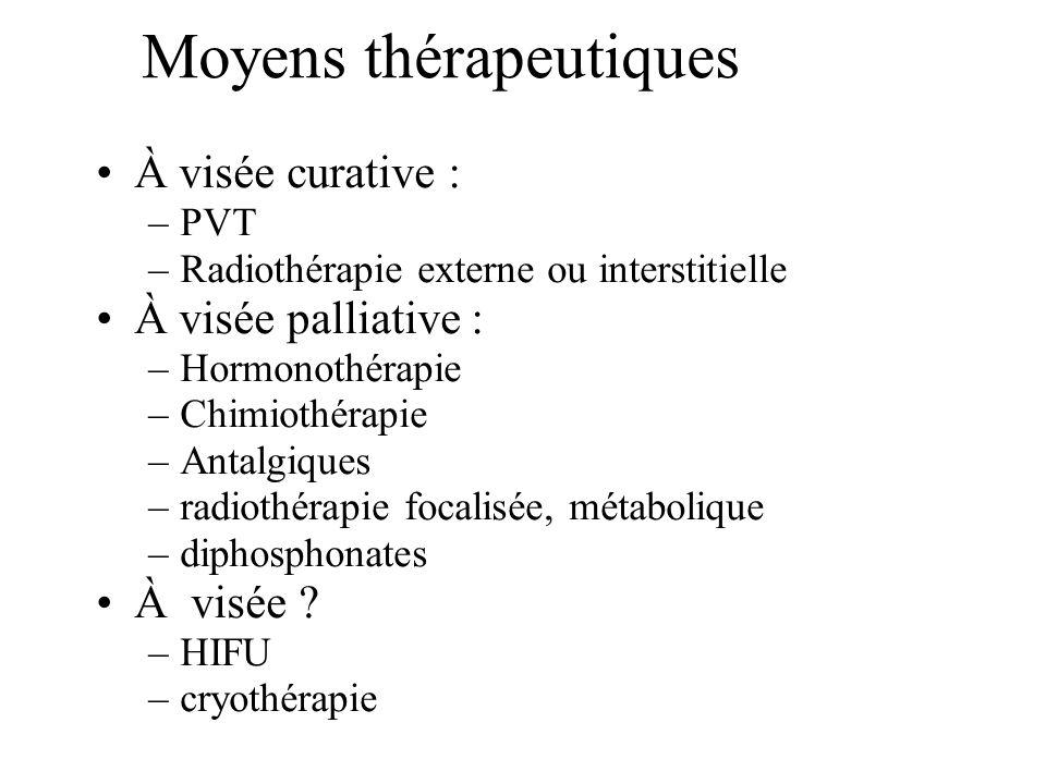 Moyens thérapeutiques À visée curative : –PVT –Radiothérapie externe ou interstitielle À visée palliative : –Hormonothérapie –Chimiothérapie –Antalgiq