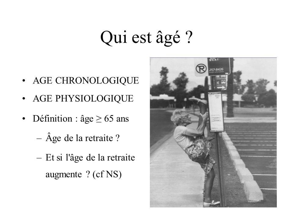 Qui est âgé ? AGE CHRONOLOGIQUE AGE PHYSIOLOGIQUE Définition : âge 65 ans –Âge de la retraite ? –Et si l'âge de la retraite augmente ? (cf NS)