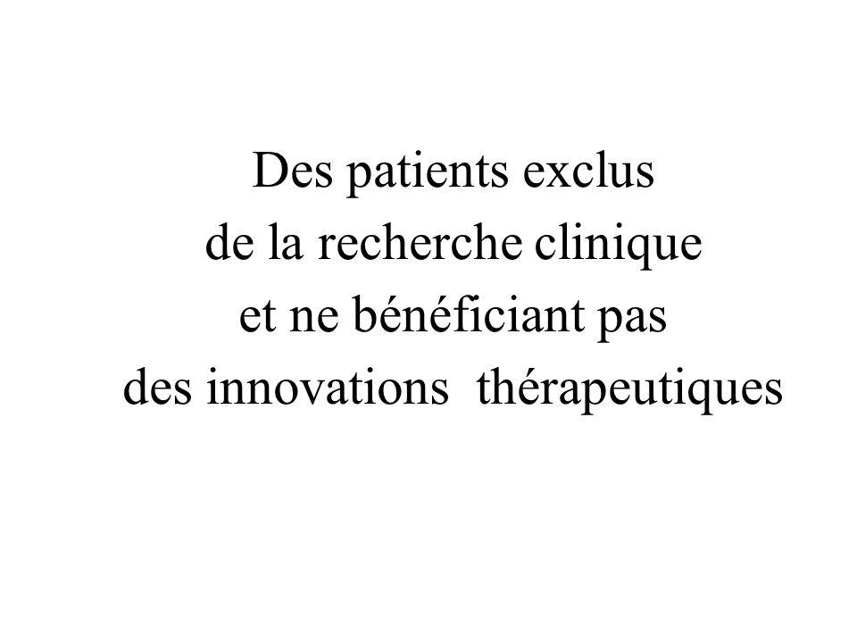 Des patients exclus de la recherche clinique et ne bénéficiant pas des innovations thérapeutiques