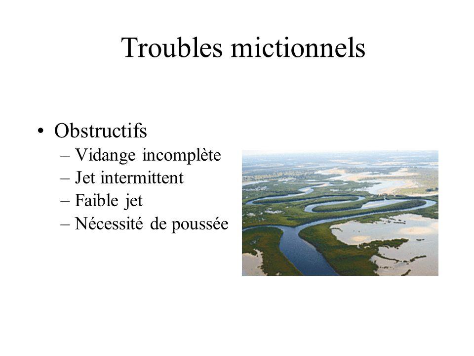 Troubles mictionnels Obstructifs –Vidange incomplète –Jet intermittent –Faible jet –Nécessité de poussée