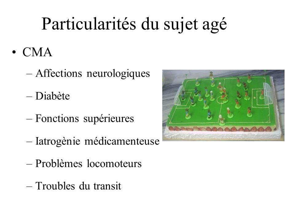 Particularités du sujet agé CMA –Affections neurologiques –Diabète –Fonctions supérieures –Iatrogènie médicamenteuse –Problèmes locomoteurs –Troubles
