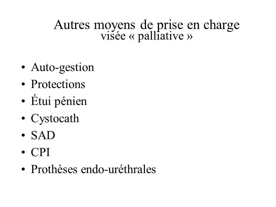 Autres moyens de prise en charge visée « palliative » Auto-gestion Protections Étui pénien Cystocath SAD CPI Prothèses endo-uréthrales