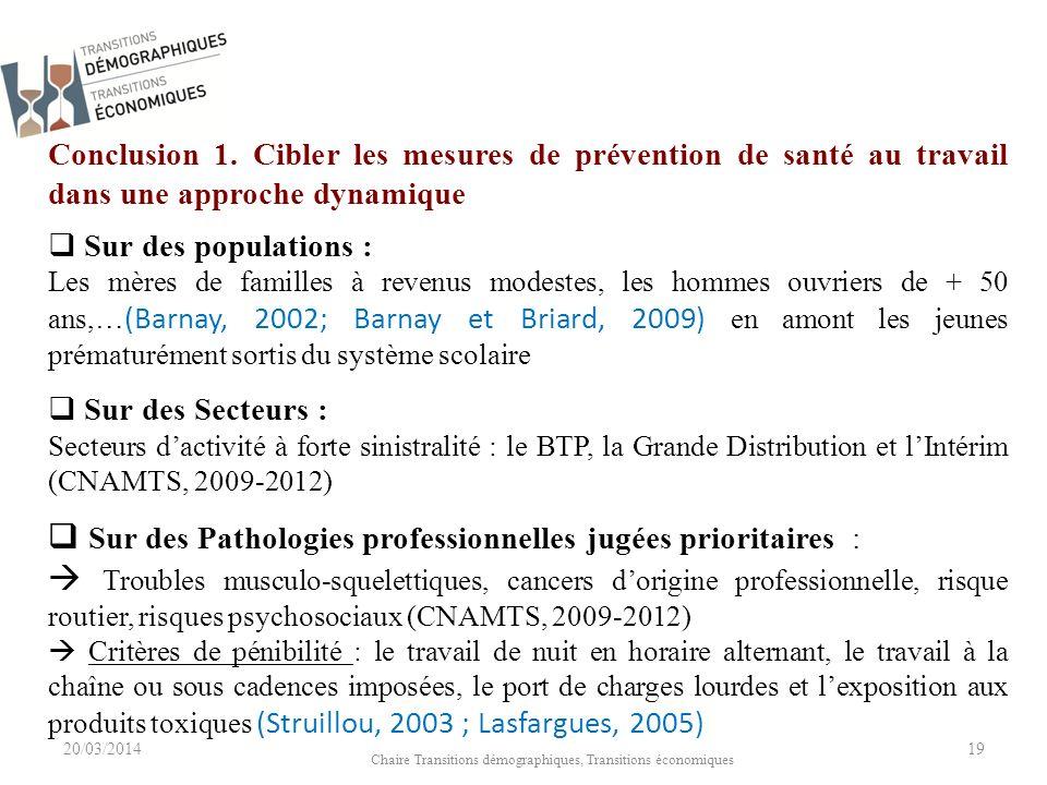 20/03/2014 Chaire Transitions démographiques, Transitions économiques 19 Conclusion 1.
