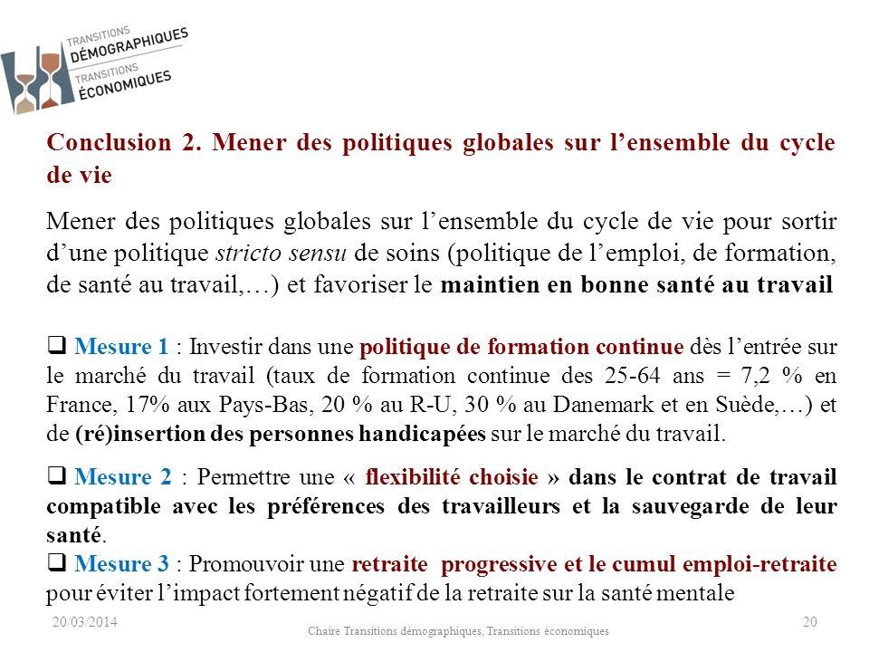 20/03/2014 Chaire Transitions démographiques, Transitions économiques 20 Conclusion 2.