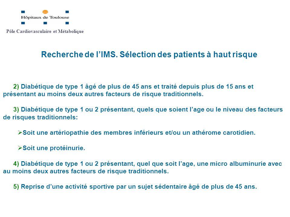 Recherche de lIMS. Sélection des patients à haut risque 2) Diabétique de type 1 âgé de plus de 45 ans et traité depuis plus de 15 ans et présentant au