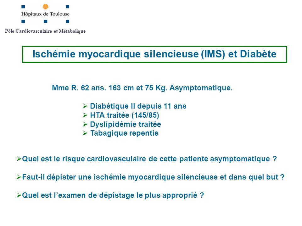 Mme R. 62 ans. 163 cm et 75 Kg. Asymptomatique. Diabétique II depuis 11 ans HTA traitée (145/85) Dyslipidémie traitée Tabagique repentie Pôle Cardiova
